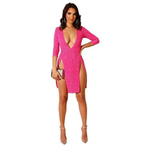 Sequins Bodycon Dress - rosy dress / S / United States