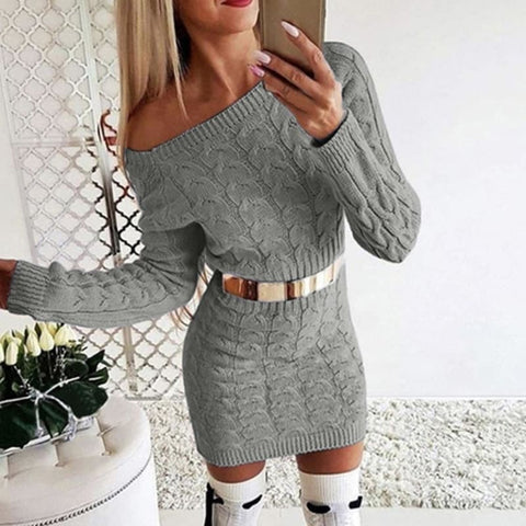 Sexy Bodycon Mini Sweater Dress - gray / Asian Size S /