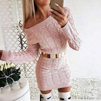 Sexy Bodycon Mini Sweater Dress - pink / Asian Size S /