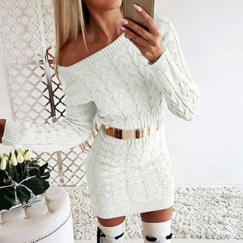 Sexy Bodycon Mini Sweater Dress - white / Asian Size S /