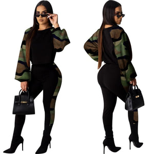 Snake Print 2 Piece Crop Top Pants Set - Army Green / L /
