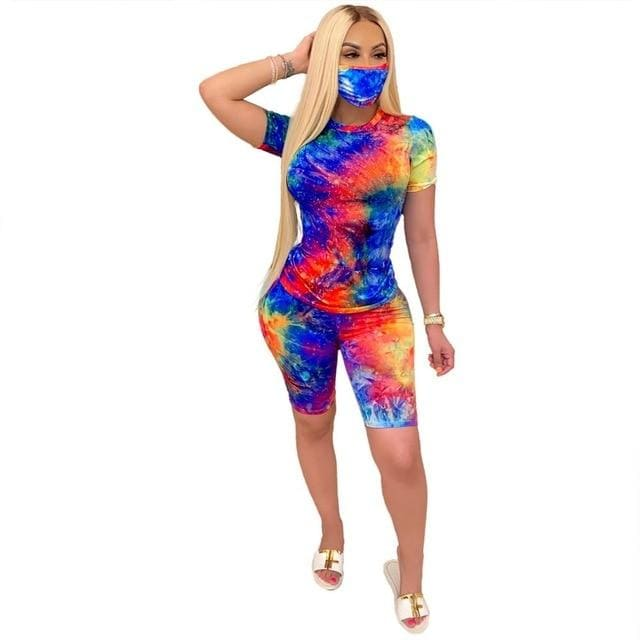 Tie Dye print two piece set with mask - blue red / M /