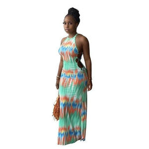 Tie-dye Sleeveless long dress - Green / XXL / United States