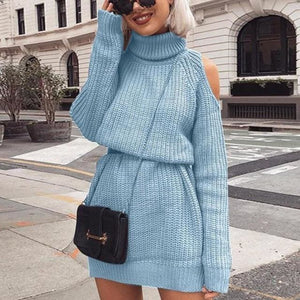 Turtleneck sexy off shoulder fall dress - Blue / S / United