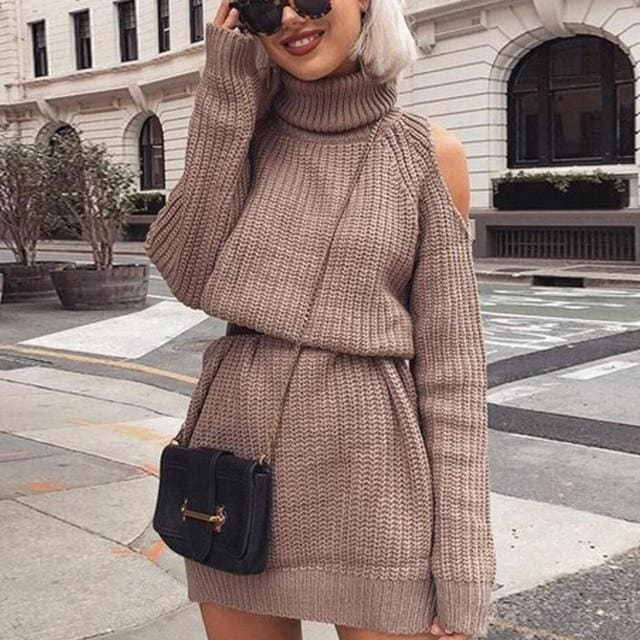 Turtleneck sexy off shoulder fall dress - Khaki / XXL /