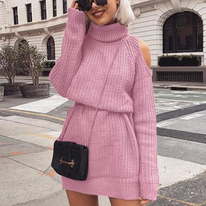 Turtleneck sexy off shoulder fall dress - Pink / XXL /