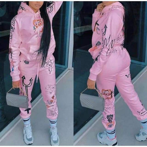 Two Piece Fashion Print Hoodie Set - pink set / XL / United