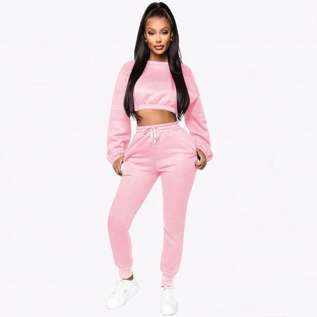Two Piece Thick Fleece Matching Set - pink / S / United