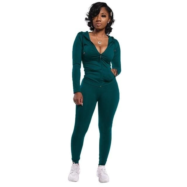 Two Piece Zipper jacket and pants set - Green / XXL / United