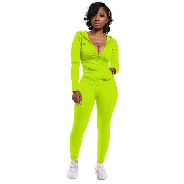 Two Piece Zipper jacket and pants set - Lime Green / XXL /