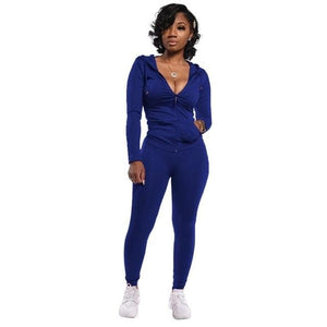 Two Piece Zipper jacket and pants set - Navy Blue / XXL /