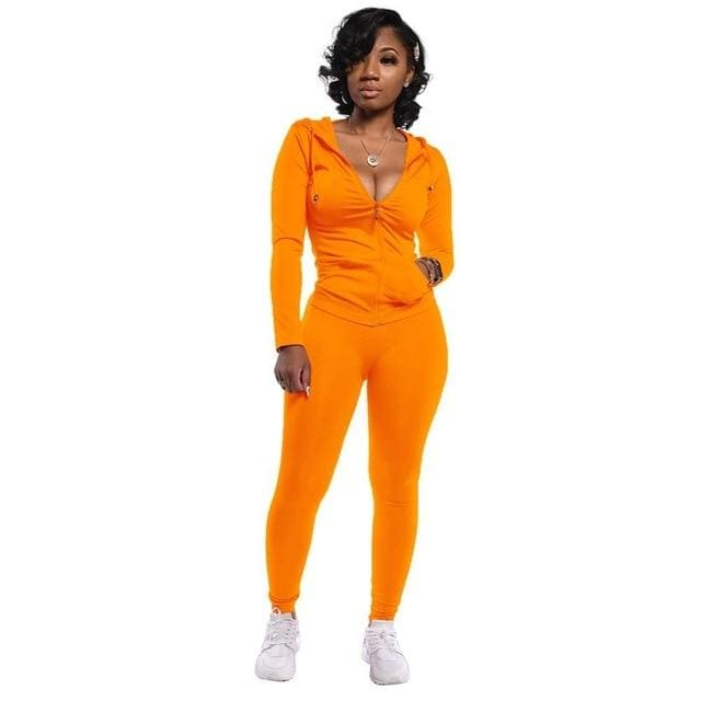 Two Piece Zipper jacket and pants set - Orange / M / United