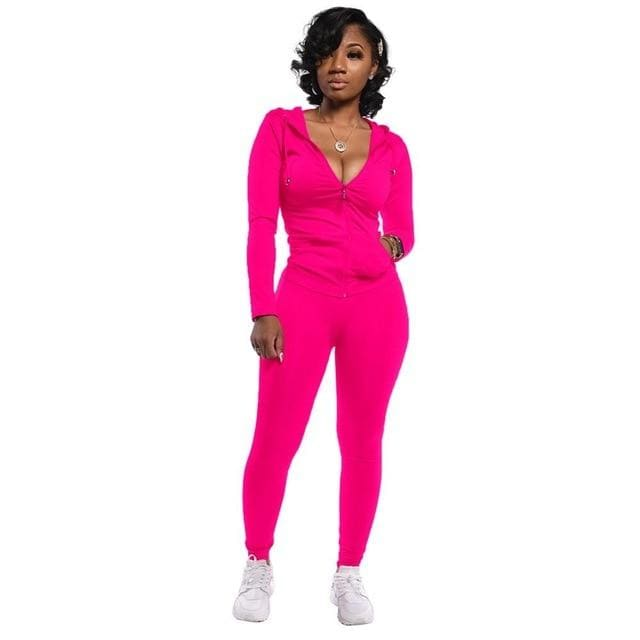 Two Piece Zipper jacket and pants set - Pink / S / United