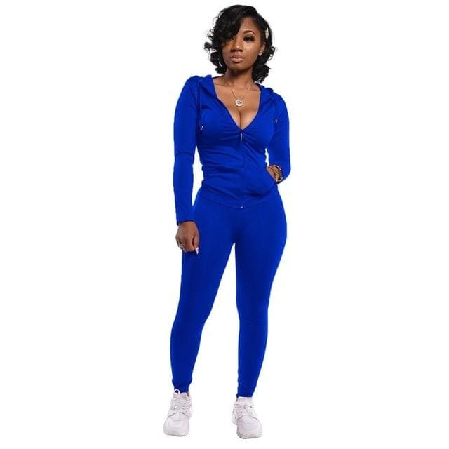 Two Piece Zipper jacket and pants set - royal blue / M /