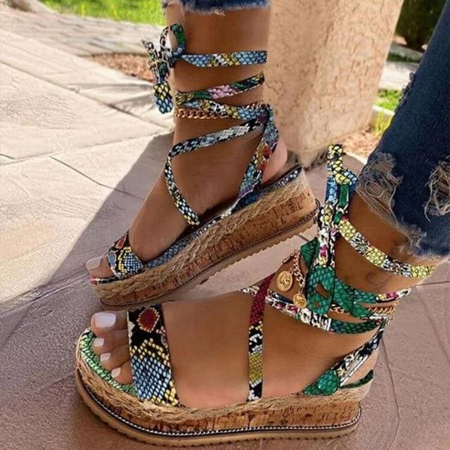 Women Snake Sandals - Green / 35 / United States
