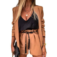 Women Two Piece vest coat And Shorts Set - maroon / L /