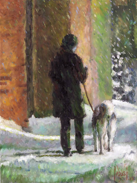 A lady walking her dog in a snowy night