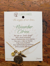 "Load image into Gallery viewer, Earth Angel Necklace "" November"" Antique Silver"