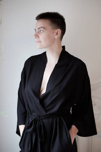 Onderbroeks- solid black dobby maxi robe EXTRA SMALL