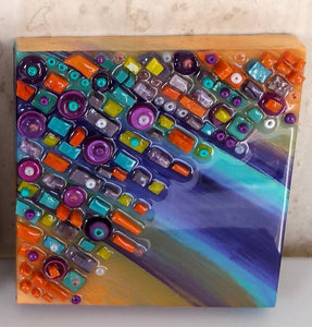 "Karen Richey, Media Shower (Mixed media mosaic) 5""x5"""