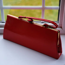 Load image into Gallery viewer, 1950's red patent leather handbag