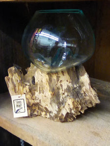 Teak wood with blown glass