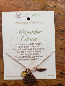"Earth Angel Necklace "" November"" Antique Silver"