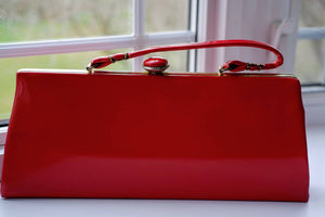 1950's red patent leather handbag