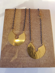 Artisan brass, copper & gold plated necklace