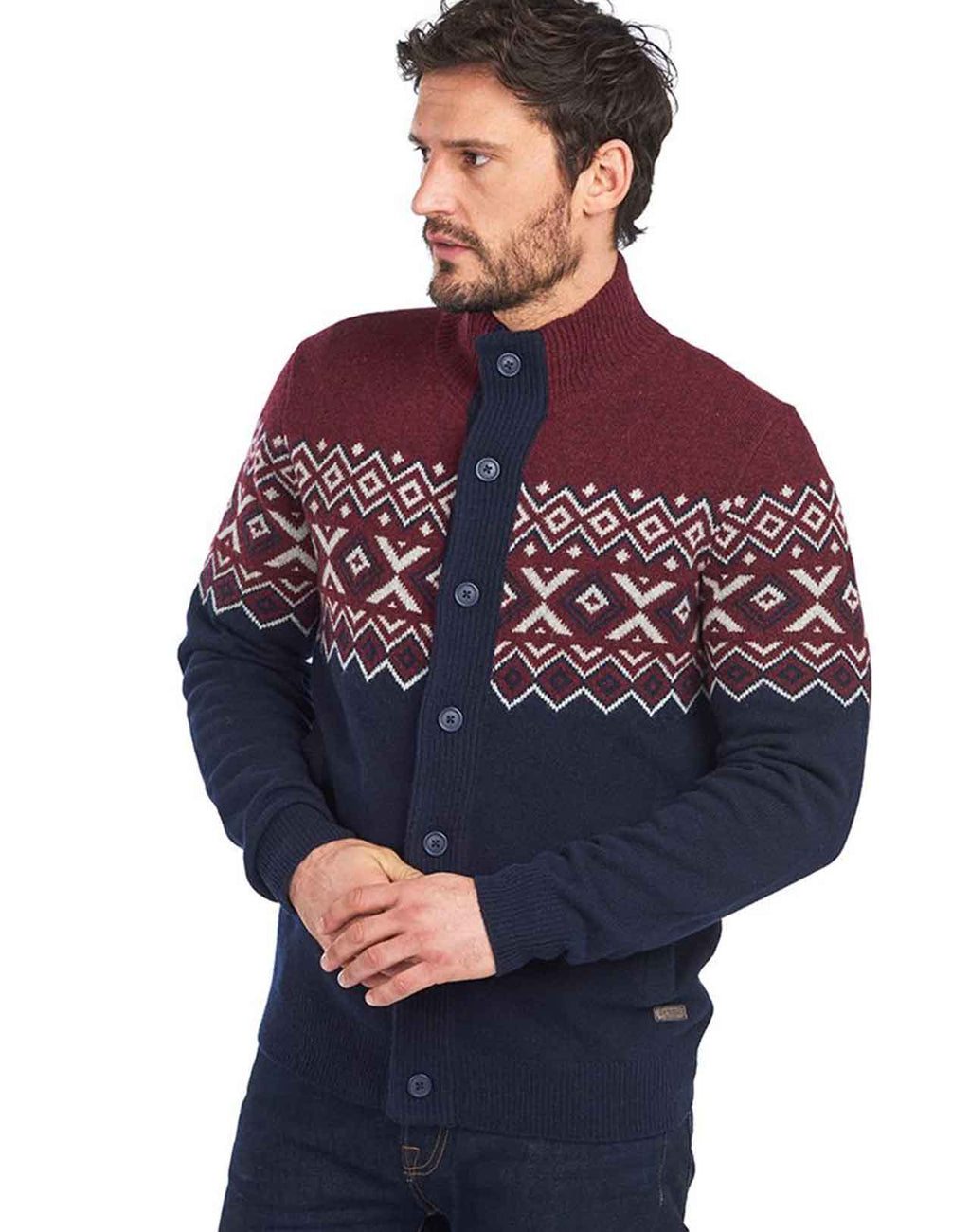 Cardigan Kirk Barbour retro en laine couleur merlot et navy