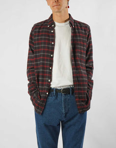 chemise en flannel a carreaux gris et rouge Portuguese flannel Evening