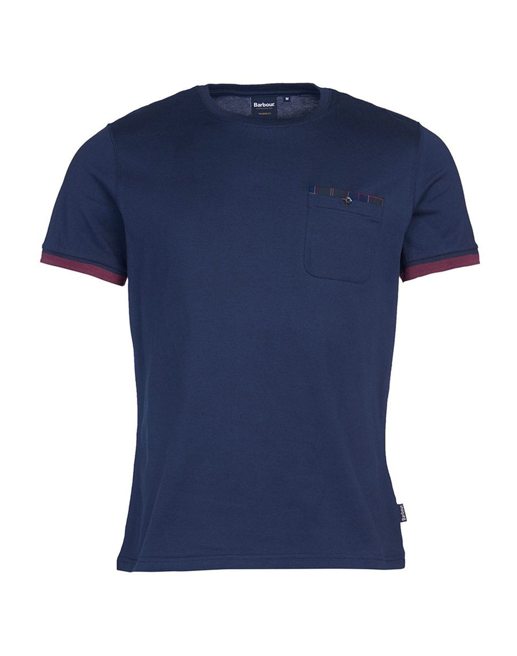 tshirt Bridge navy detail tartan poche poitrine Barbour