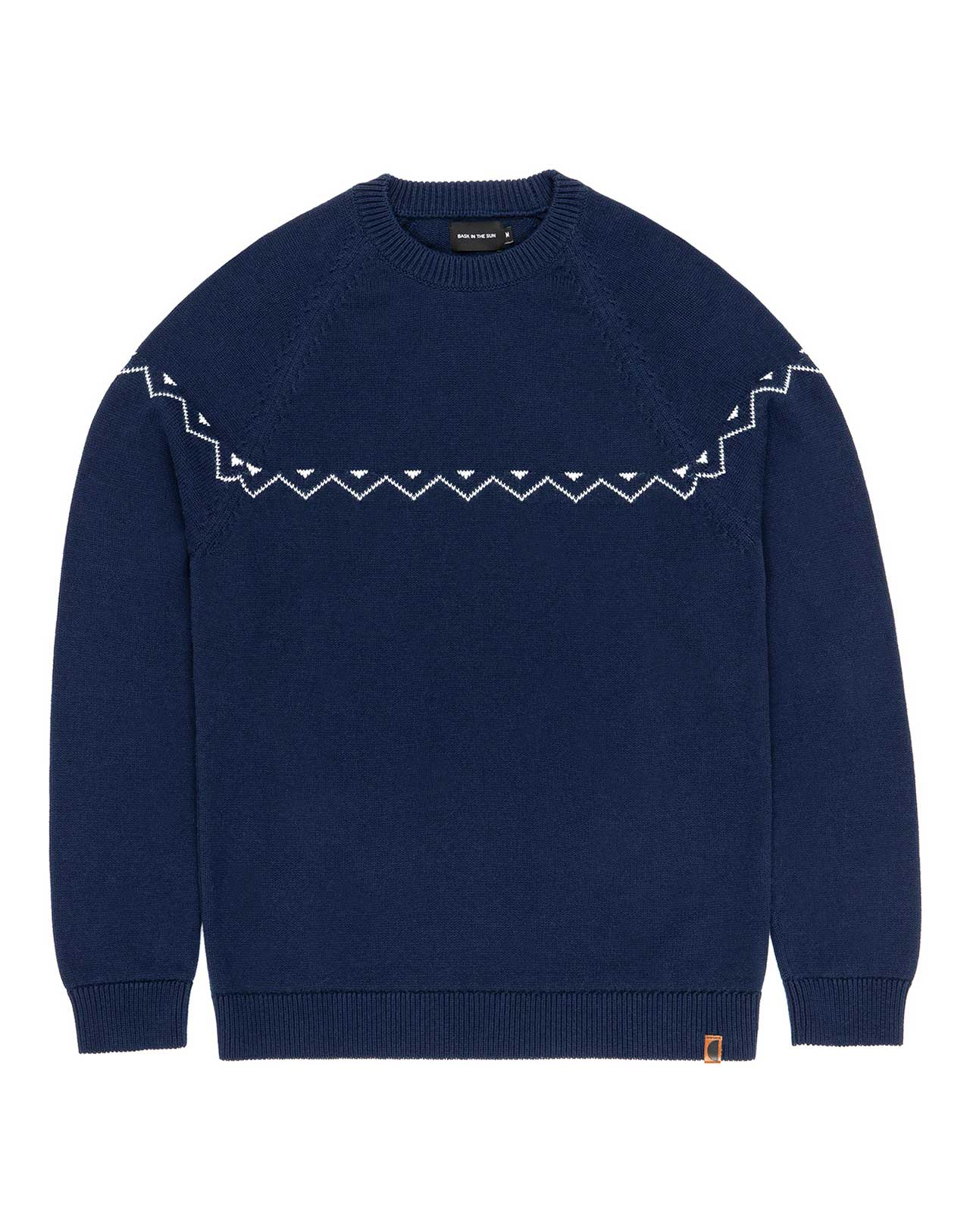 pull en maill navy detail zigzag blanc Ibon Bask in the sun