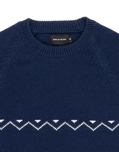 détail col pull en maill navy detail zigzag blanc Ibon Bask in the sun