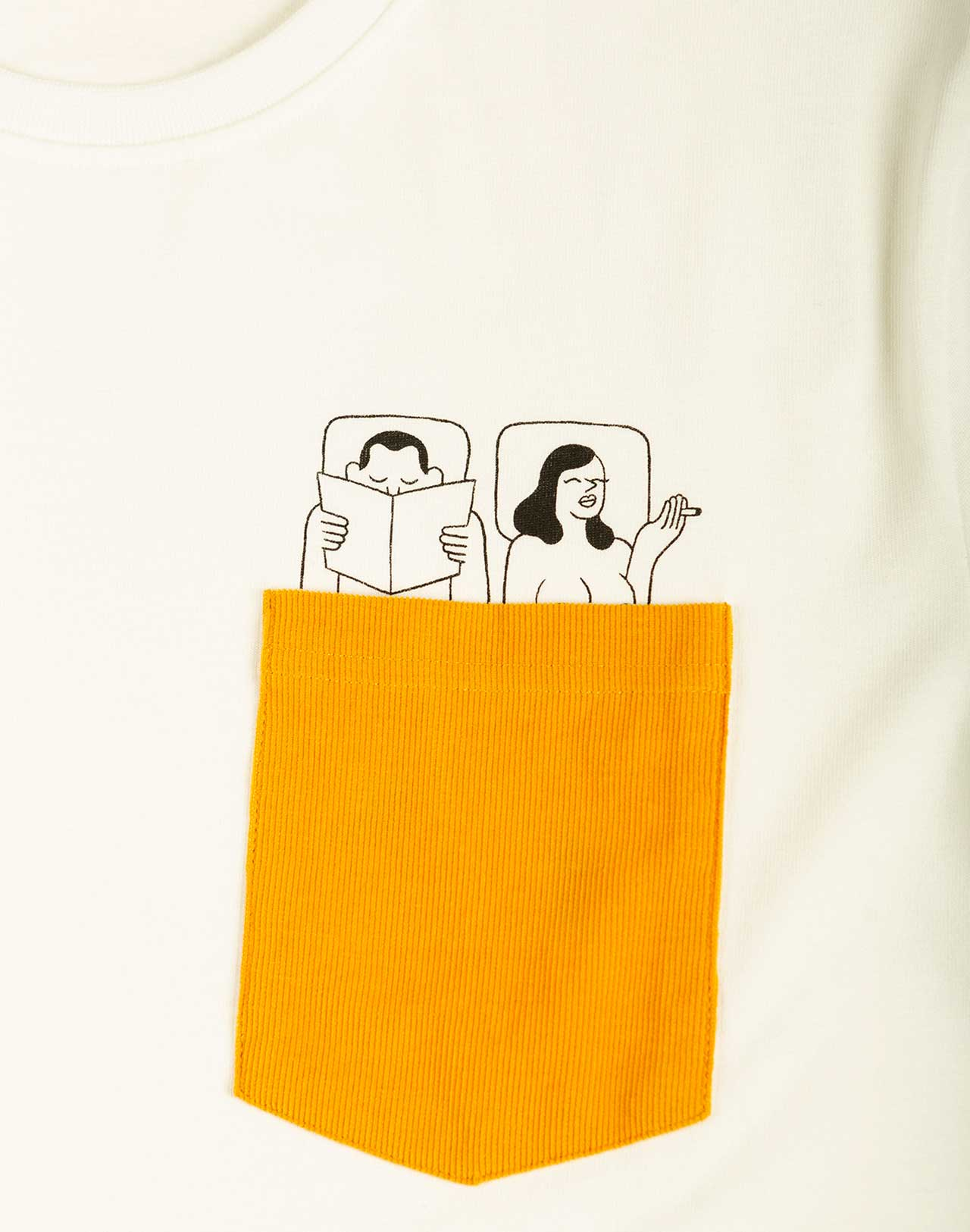 poche velour jaune illustration couples au lit Simon Landrein