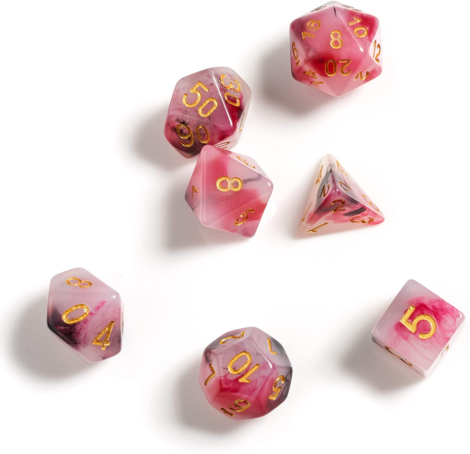 Sirius a Dice:  Piece RPG 8 Dice - Marble Pink & Black & Red | Battle Bliss