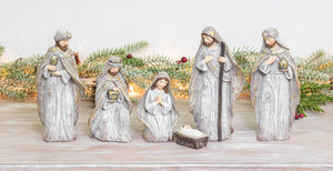 Winter Glitter Nativity Set of 6