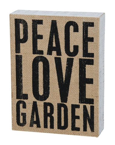 Peace Love Garden Box Sign