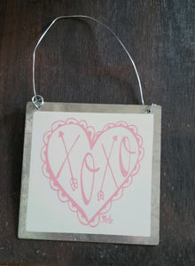 XOXO in Pink Heart Tin Ornament