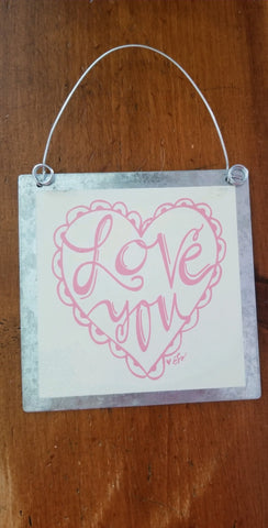 Love You Pink Heart Tin Ornament