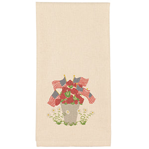 USA Flag and Geraniums Dish Towel