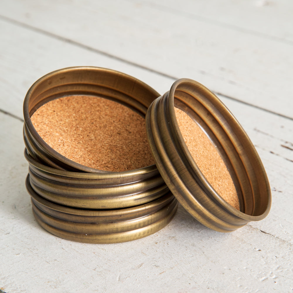Mason Jar Lid Coaster - Brass Antique - Set of 4