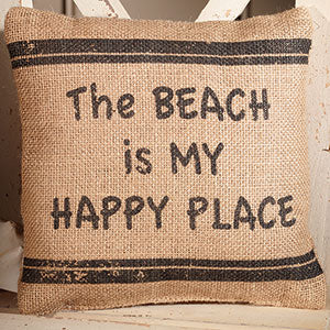Beach - Happy Place Burlap Pillow