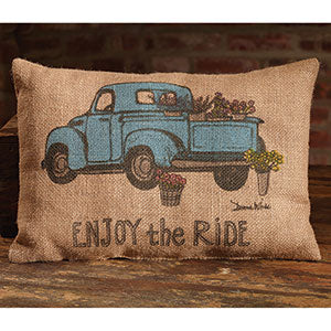 Burlap Enjoy The Ride Blue Truck Pillow