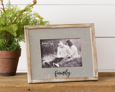 Galvanized and Wood Family Picture Frame