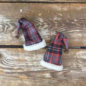 Plaid Stocking Hat Topper - Set of 2