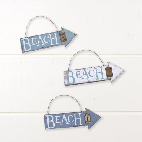 Beach Arrow Ornament/Sign Set of 3
