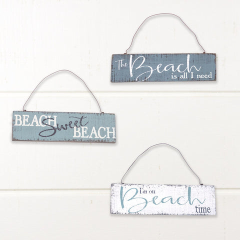 Beach Wood Ornament/Hanging Sign Set of 3