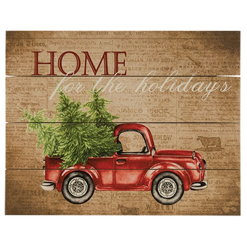 Home for the Holidays Red Truck Pallet Art