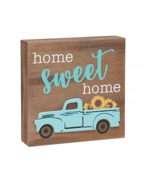 Home Sweet Home Blue 3D Truck Sign